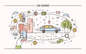 Esquema de flujo del carsharing, tendencia sugerida por Rodrigo Madariaga para mejorar movilidad urbana.